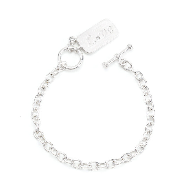 Silvertone Finish Love Charm Bracelet