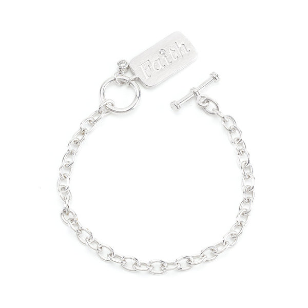 Silvertone Finish Faith Charm Bracelet