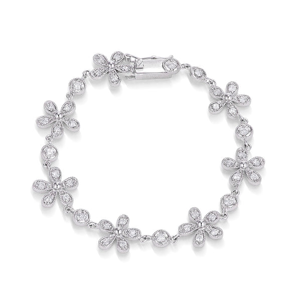 1.34Ct Rhodium Plated Antique Cubic Zirconia Chain of Flowers Bracelet