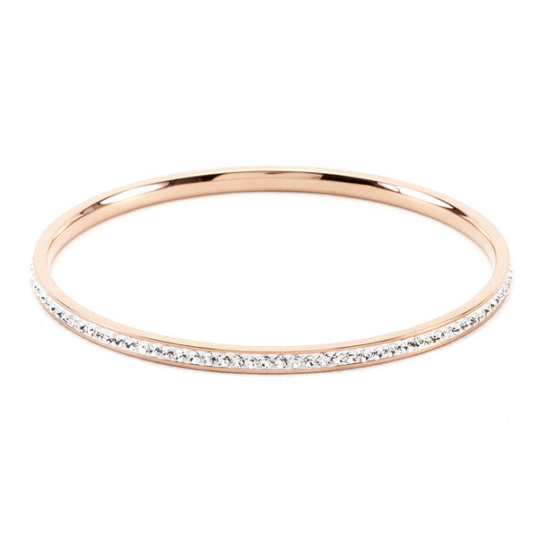 Simple Rosegold Finish Crystal Bangle