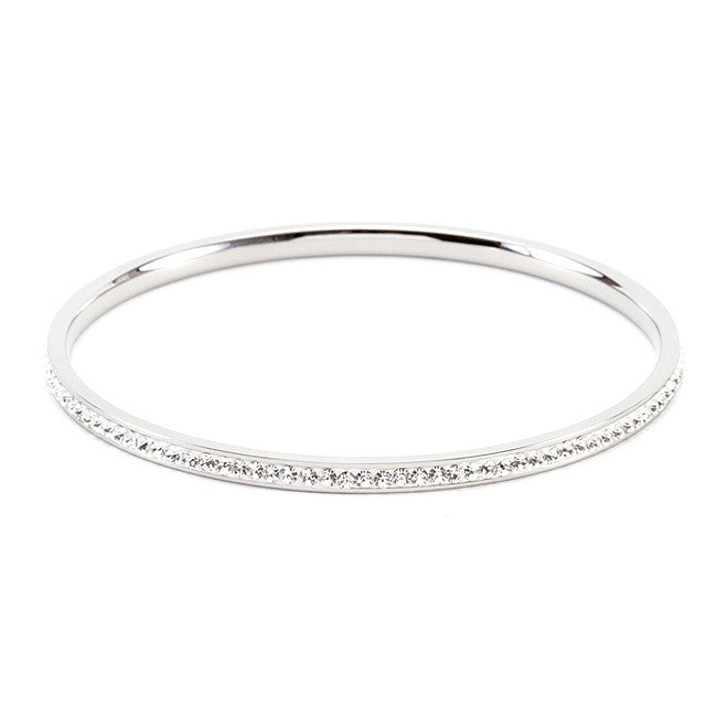 Simple Silvertone Finish Crystal Bangle