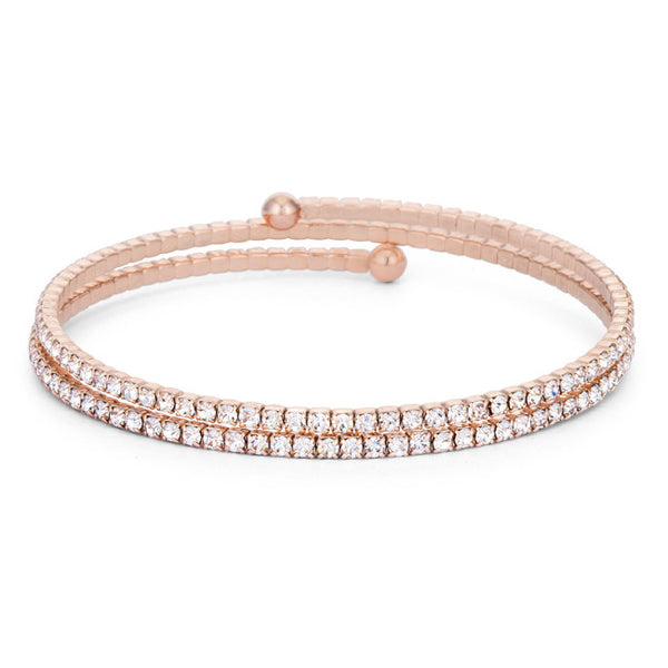 Bernadette Clear Crystal Rose Gold Wrap Bracelet