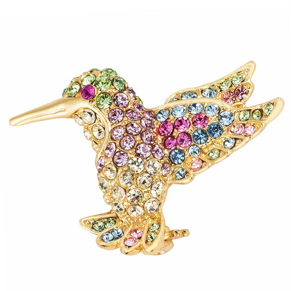 18k Gold Plated Light Multicolored Crystal Hummingbird Brooch