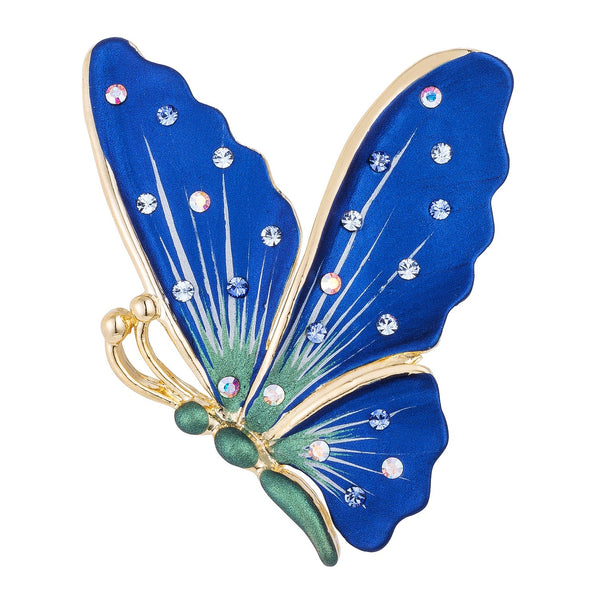 18k Gold Plated Hand Painted Crystal Accented Blue Butterfly
