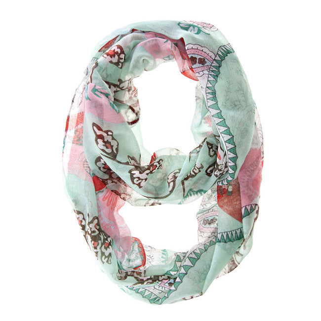 Mint Flower Bloom Print Scarf