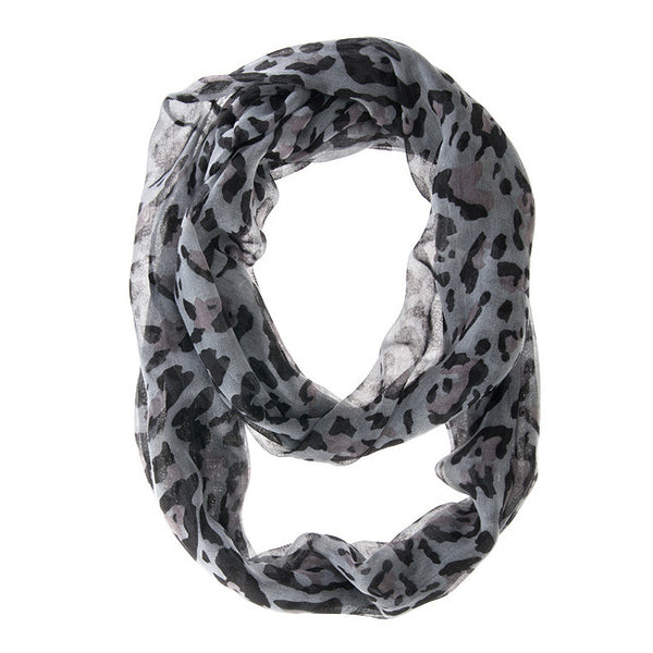 Cheetah Grey Lux Infinity Scarf