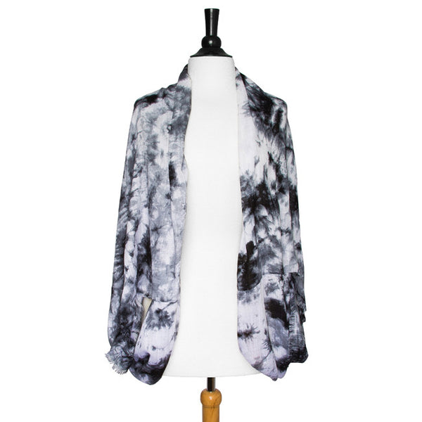 Black Laurene Tie-Dye Shawl