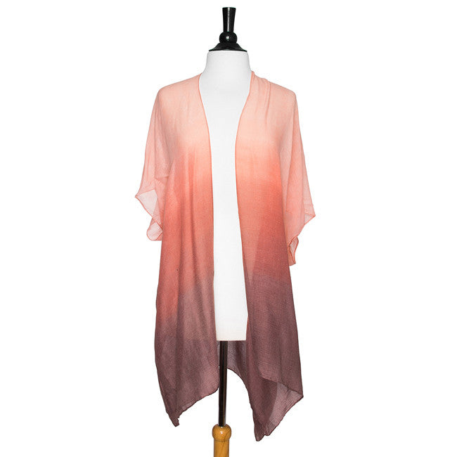 Pink Claudia Sheer Ombre Shawl Cover Up