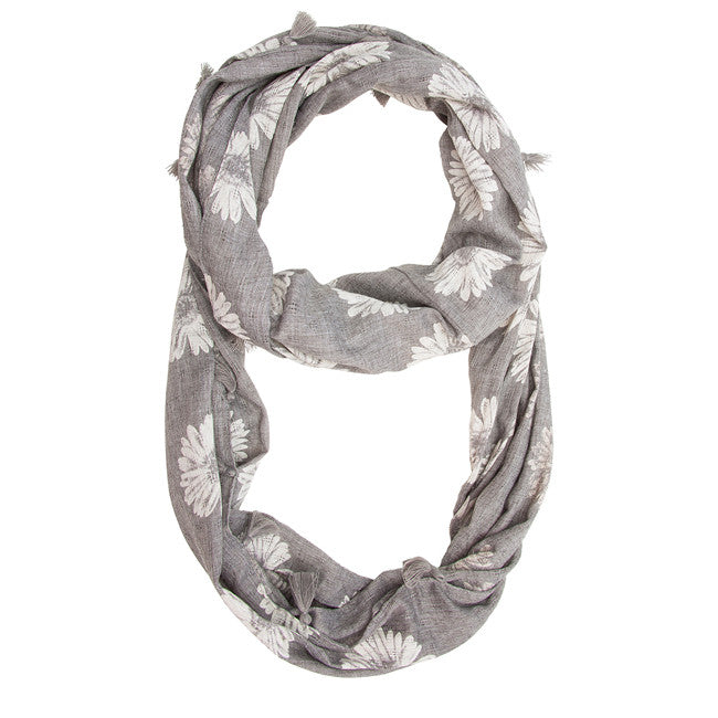 Grey Haven Sunflower Infinity Scarf With Fringe