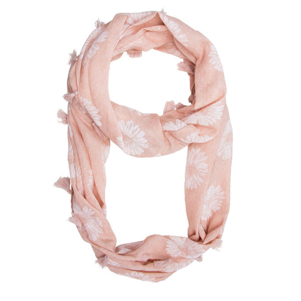 Pink Haven Sunflower Infinity Scarf With Fringe