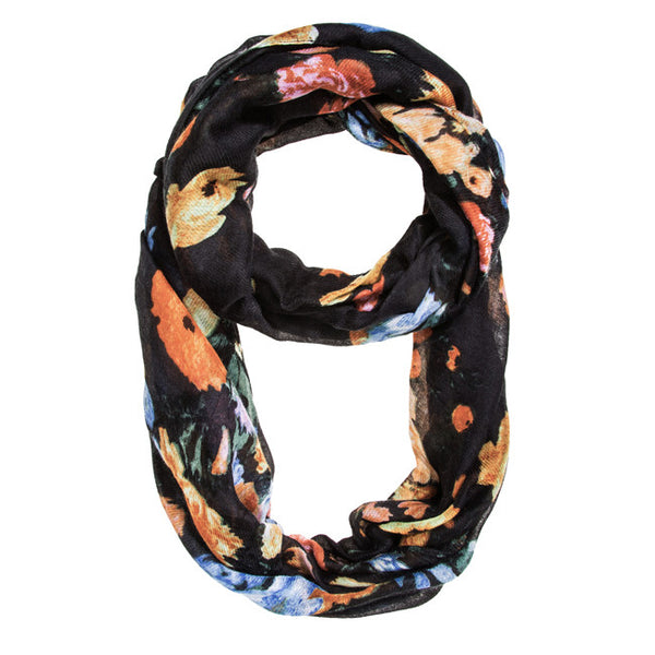 Black Aria Floral Infinity Scarf