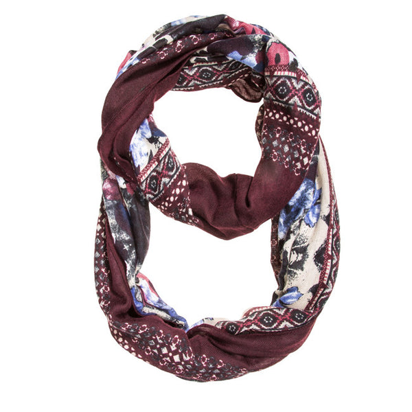 Burgundy Emily Floral Infinity Scarf