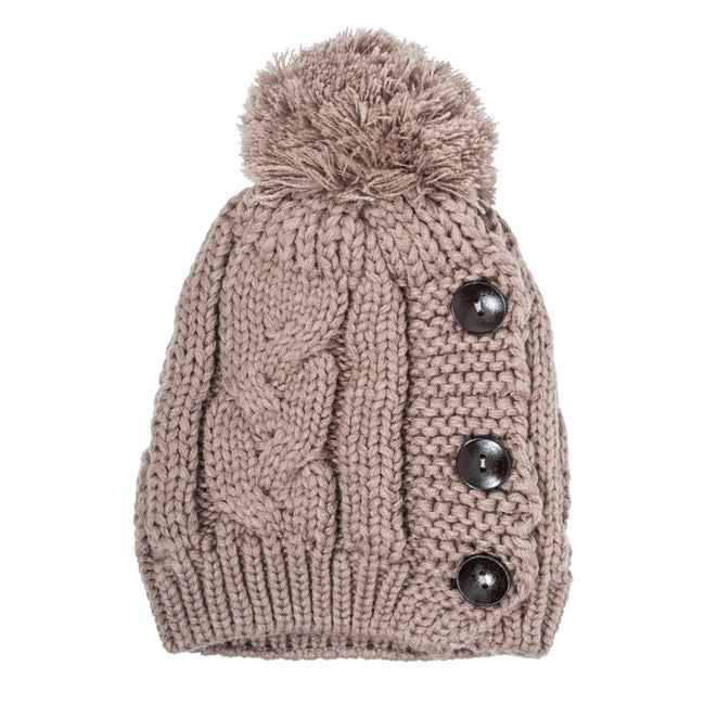 Taupe Michelle Knitted White Stitch Beanie