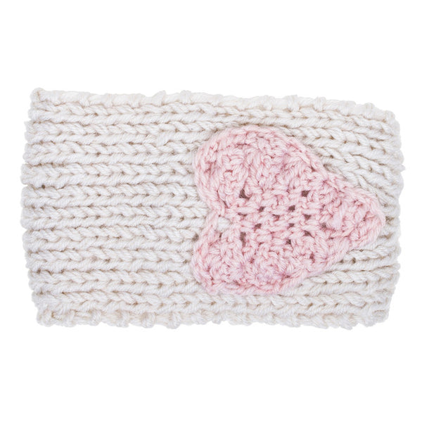 Off White Bernadette Heart Design Knit Headband