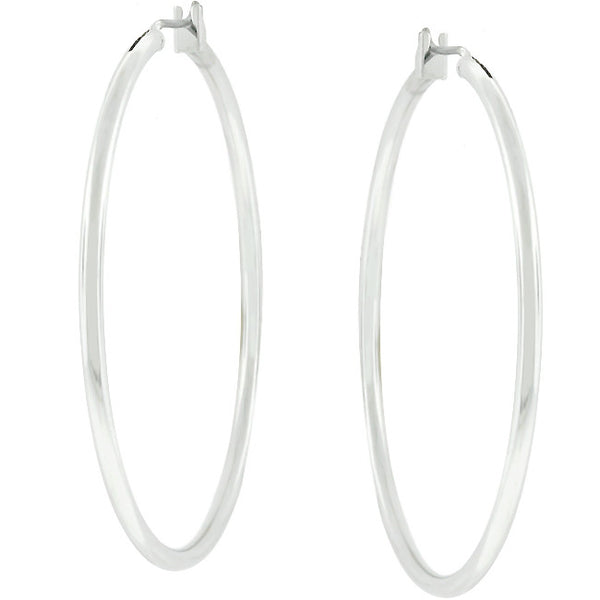 Large Silvertone Finish Hoop Earrings