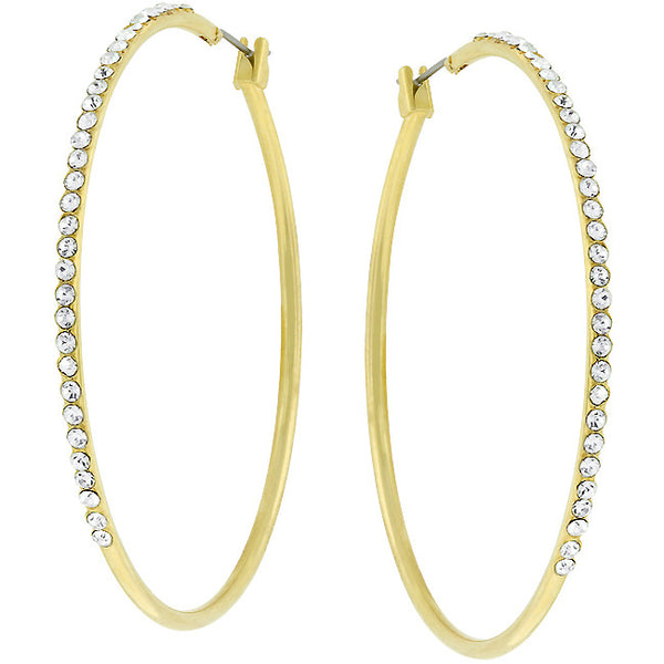 2 Inch Gold Crystal Hoop Earrings