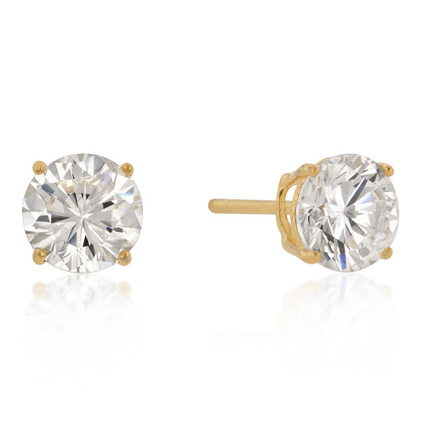 7mm New Sterling Round Cut Cubic Zirconia Studs Gold