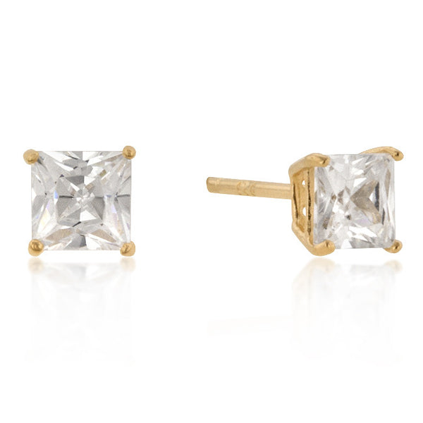 5mm New Sterling Princess Cut Studs Gold