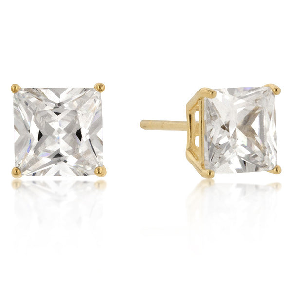 7mm New Sterling Princess Cut Cubic Zirconia Studs Gold