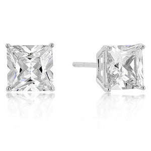 7mm New Sterling Princess Cut Cubic Zirconia Studs Silver