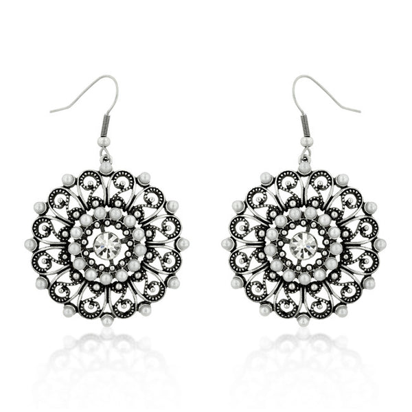 Antique Silver Crest Earrings