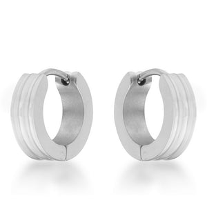 Marlene Rhodium Stainless Steel Small Hoop Earrings