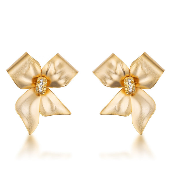 18k Matte Gold Plated Crystal Accented Bow Earrings