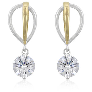 Two-tone Finish Cubic Zirconia Drop Earrings