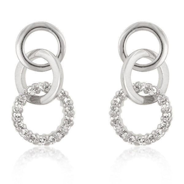 Silvertone Finish Triplet Hooplet Earrings