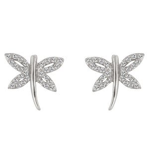 Cubic Zirconia Dragonfly Earrings