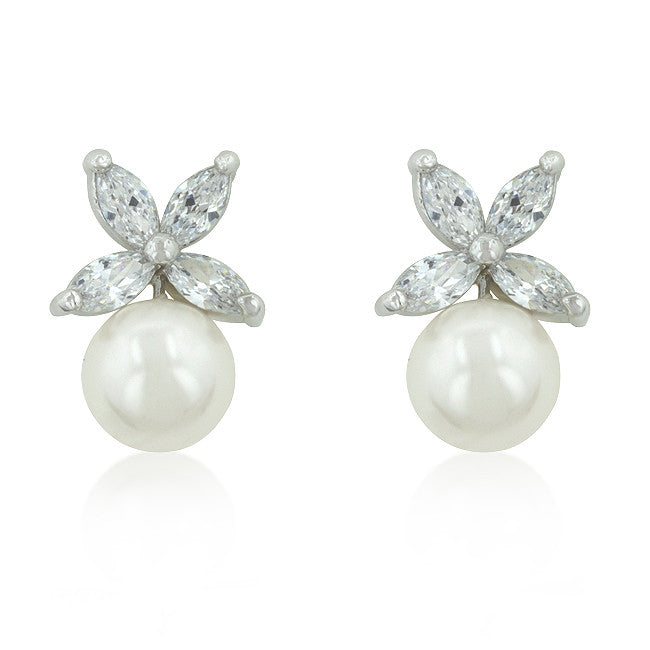 Butterfly Pearl Stud Earrings