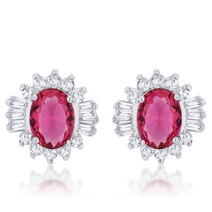 Chrisalee 3.3ct Ruby CZ Rhodium Classic Stud Earrings