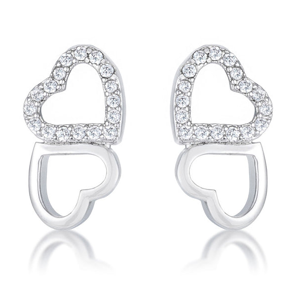 .17 Ct Melded Hearts Rhodium and Cubic Zirconia Stud Earrings