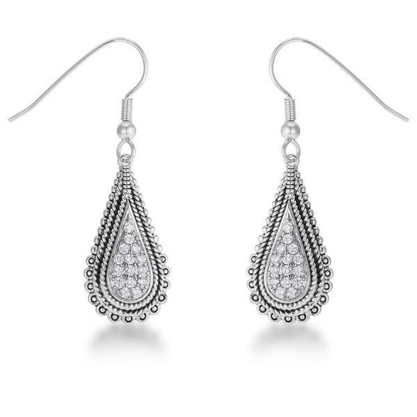 a8b339a59 .45 Ct Tear Drop Rhodium Earrings with Cubic Zirconia