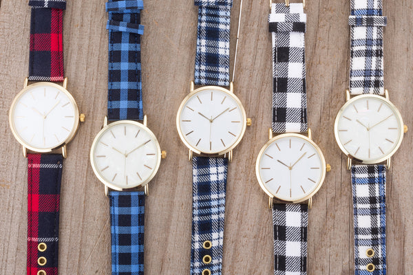 Classic Dial Watch with Blue & White Plaid Band