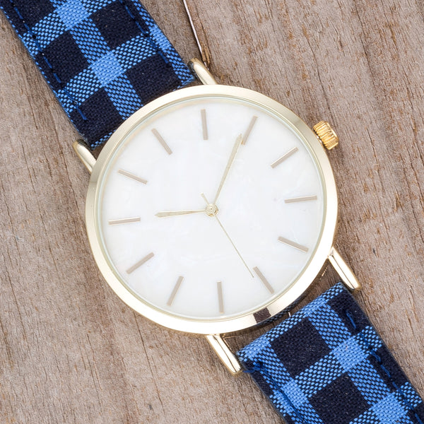 Classic Dial Watch with Royal & Black Plaid Band