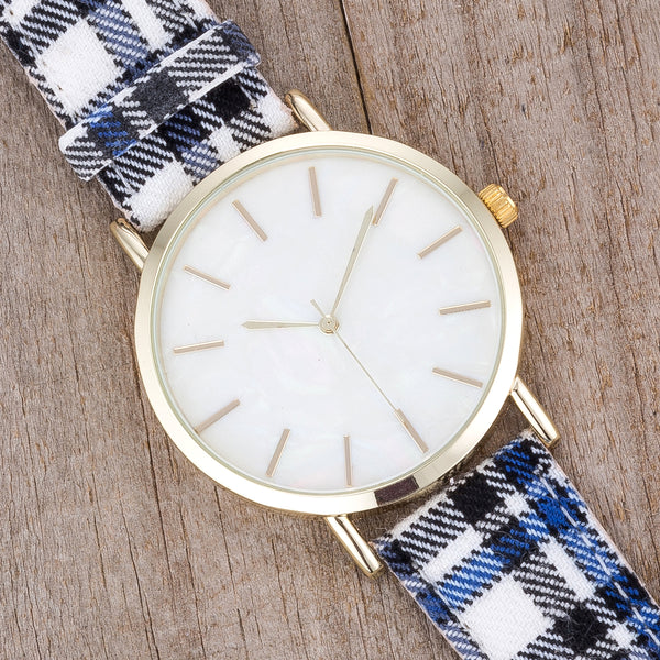 Classic Dial Watch with Black & Blue Plaid Band