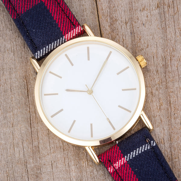 Classic Dial Watch with Red & Black Plaid Band