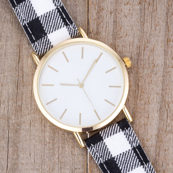 Classic Dial Watch with Black & White Plaid Band