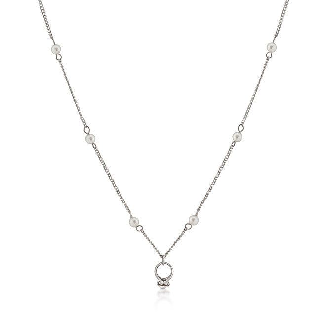 Crystal Ring Pendant Pearl Necklace
