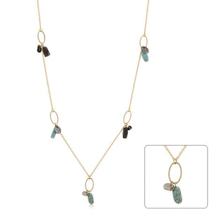 Golden Assorted Charms and Crystals Necklace
