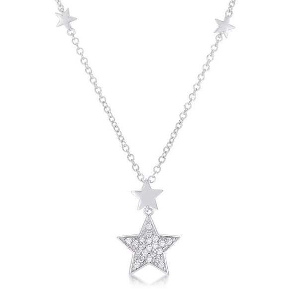 .32Ct Rhodium Star Necklace with Shimmering CZ