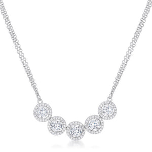5 Ct Dazzling Rhodium Necklace with Cubic Zirconia