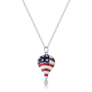 .1 Ct Patriotic Hot Air Balloon Rhodium Necklace with Cubic Zirconia