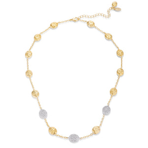 .1Ct Contemporary 18k Gold and Rhodium Plated CZ Textured Necklace