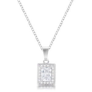 7mm Emerald Cut Cubic Zirconia Fashion Pendant