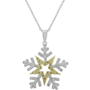 Two-tone Finishd Snowflake Pendant