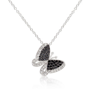 Black and White Cubic Zirconia Butterfly Pendant