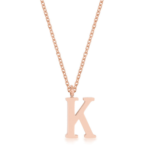 Elaina Rose Gold Stainless Steel K Initial Necklace