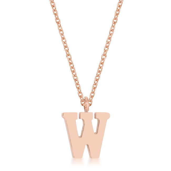 Elaina Rose Gold Stainless Steel W Initial Necklace